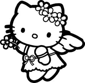 Gambar Mewarnai Hello Kitty Anak