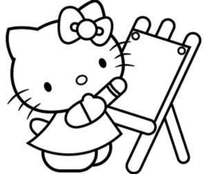 Gambar Mewarnai Hello Kitty Belajar