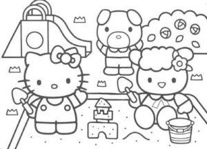 Gambar Mewarnai Hello Kitty Bermain