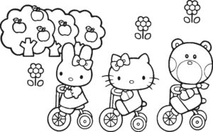 Gambar Mewarnai Hello Kitty Friends