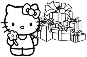Gambar Mewarnai Hello Kitty Kado