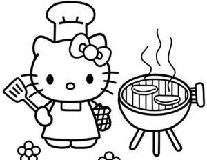 Gambar Mewarnai Hello Kitty Memasak