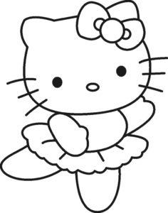 Gambar Mewarnai Hello Kitty Menari