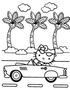 Gambar Mewarnai Hello Kitty Mobil