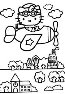 Gambar Mewarnai Hello Kitty Naik pesawat