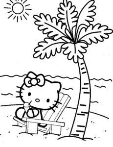 Gambar Mewarnai Hello Kitty Pantai