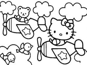 Gambar Mewarnai Hello Kitty Pesawat