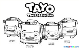 Gambar Mewarnai Tayo The Little Bus
