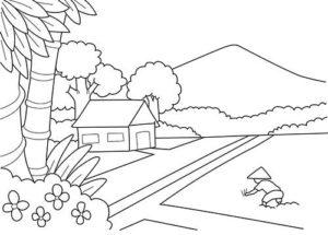 10.Gambar Mewarnai Gunung