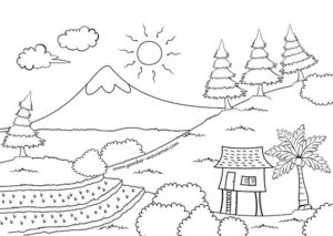 2.Gambar Mewarnai Gunung