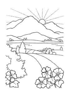 3.Gambar Mewarnai Gunung