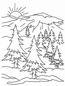 7.Gambar Mewarnai Gunung