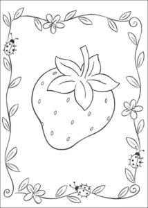 6.Gambar Mewarnai Buah Strawberry
