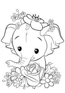 1.Gambar Mewarnai Gajah