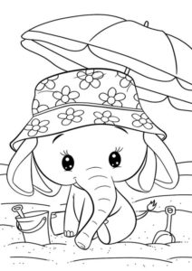 5.Gambar Mewarnai Gajah