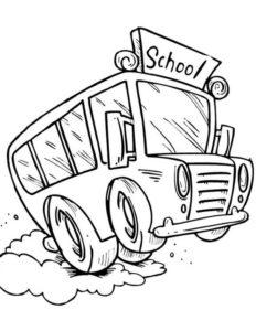 10.Gambar Mewarnai Bus Sekolah