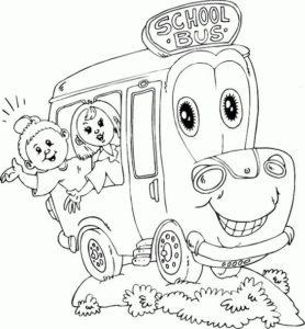 6.Gambar Mewarnai Bus Sekolah
