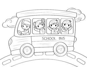7.Gambar Mewarnai Bus Sekolah
