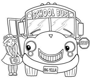 8.Gambar Mewarnai Bus Sekolah